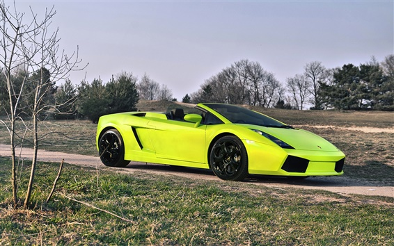 Wallpaper Lamborghini light green supercar