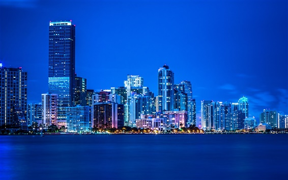 Wallpaper Miami, Florida, night, lights, city, buildings, blue