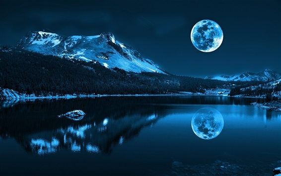 Wallpaper Moon, lake, mountains, cold night, nature scenery