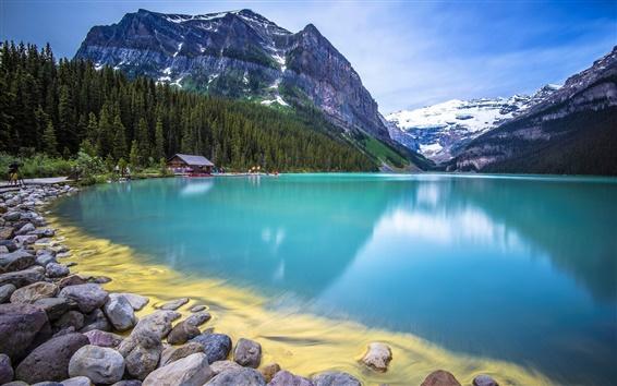 Wallpaper Mountain, forest, lake, rocks, house