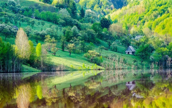 Wallpaper Mountain slope, trees, house, lake, water reflection, spring scenery