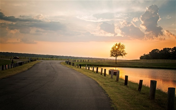 Wallpaper Nature landscape, sunset, tree, road, river, fence, sky clouds