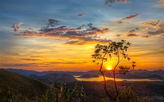 Fond d'écran Nature, montagnes, lac, arbre, soleil, matin, aube