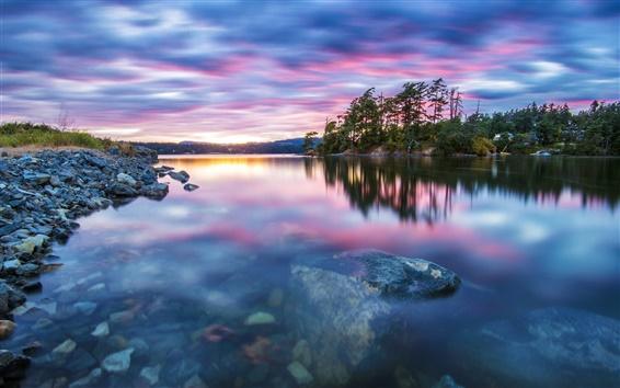 Fondos de pantalla Escenas de la naturaleza, árboles, lago, agua, piedras, puesta del sol, la tranquilidad