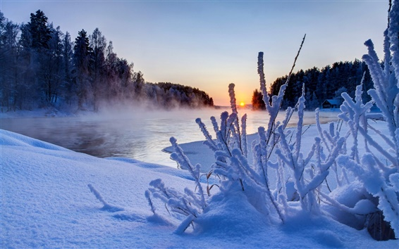 Обои Природа зима, закат, деревья, снег, лед, река, небо