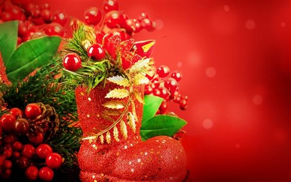 Обои Новый год, Рождество, шары, украшения, красный