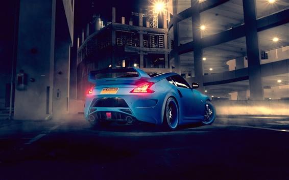 壁紙 ニッサン370Z青い車背面図