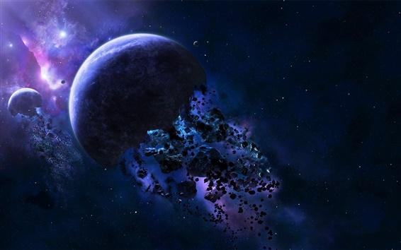 Fond d'écran Planète débris, les astéroïdes, espace bleu