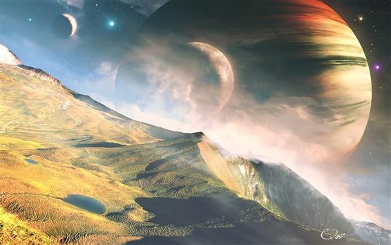 Papéis de Parede Planetas, estrelas, espaço, montanhas, paisagem de sonho