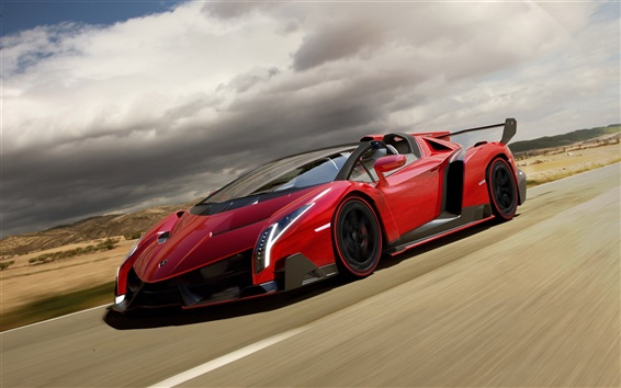 Wallpaper Red Lamborghini Veneno Roadster supercar in road