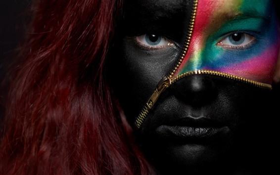 배경 화면 빨간 머리, 눈, 착색 소녀 얼굴