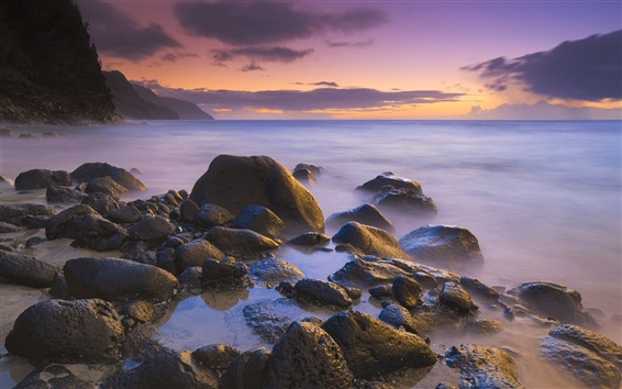 Wallpaper Rocks on the beach at sunset, Hawaii, USA