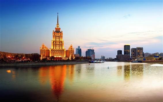 壁紙 ロシア、モスクワ市、夕暮れ、川、橋