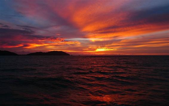 Fond d'écran Mer, ciel, nuages, horizon, le soleil, coucher du soleil, le style rouge
