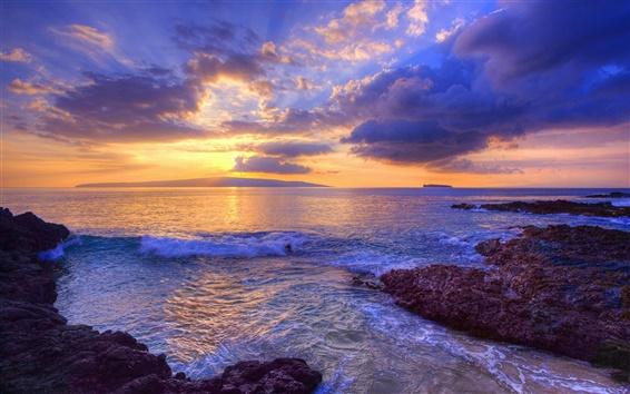Wallpaper Sunset at Secret Beach, Maui, Hawaii, USA