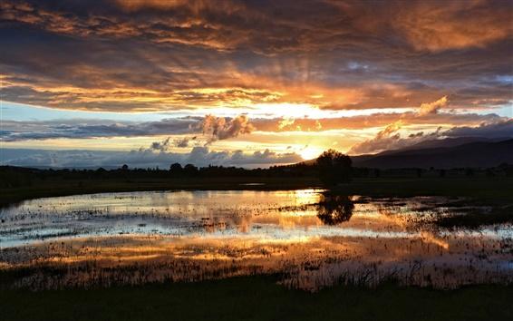 Wallpaper Sunset landscape, lake, swamp, night, clouds