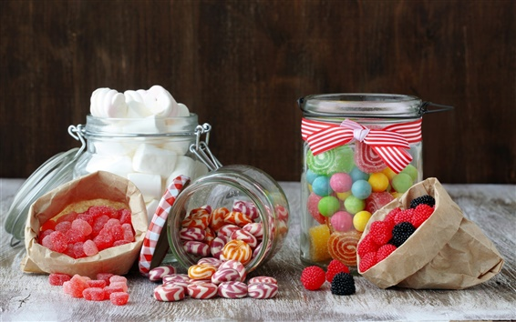 Wallpaper Sweet food, candy, marshmallow, jelly, sugar, berries