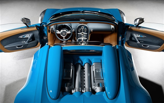 Wallpaper Top view blue Bugatti Veyron 16.4 supercar