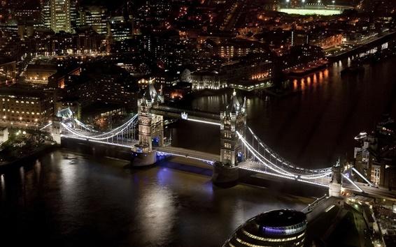 Wallpaper Tower Bridge, London, England, river, night city, buildings, black style