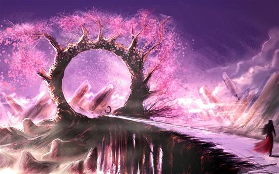 Fond d'écran Anneau d'arbre arc, rose, feuilles, roches, fille, images d'art