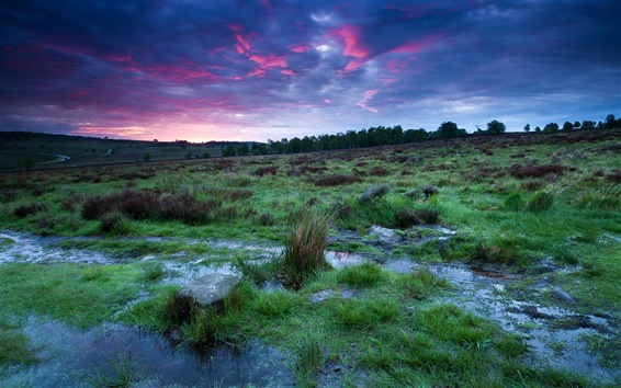 Wallpaper UK, England, Derbyshire, national park, sunset, sky, clouds