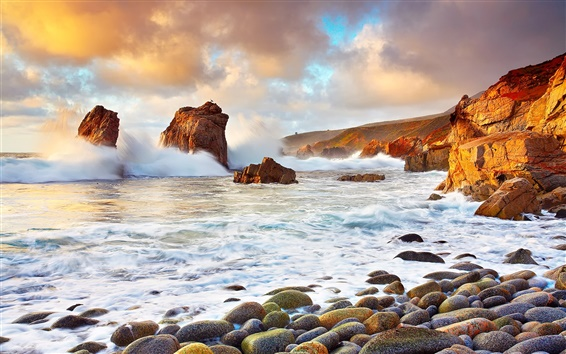 Wallpaper USA, California, ocean, stones, clouds, waves splash