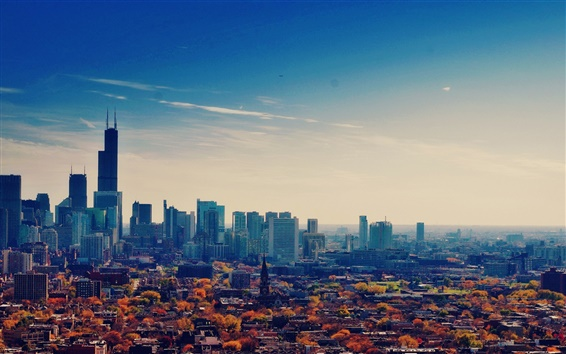 Wallpaper USA, Illinois, Chicago, skyscrapers, metropolis, autumn, sky