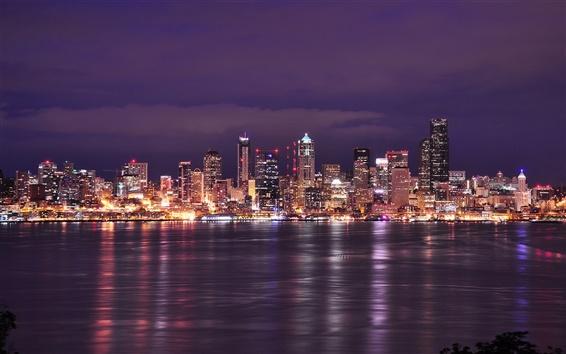 Wallpaper USA, Washington, Seattle, city night, lights, buildings, river