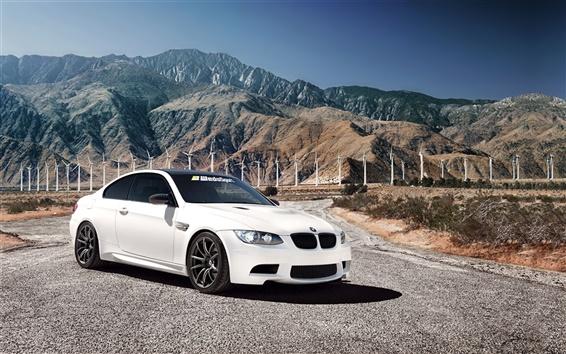 Wallpaper White BMW M3 car, 1013MM, mountains, windmill