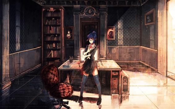 Wallpaper Anime girl at bookroom