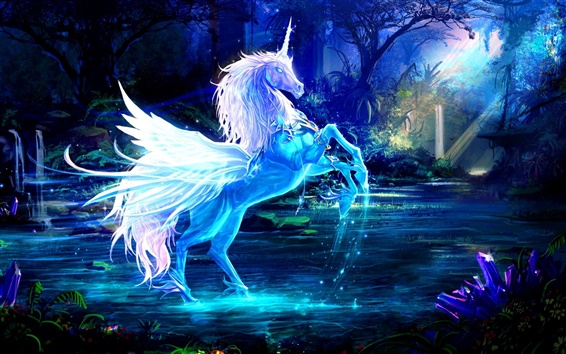 Wallpaper Art pictures, unicorn, horse, water, rays, forest, blue