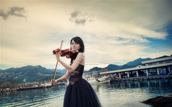 Wallpaper Asian girl, violin, music, pier