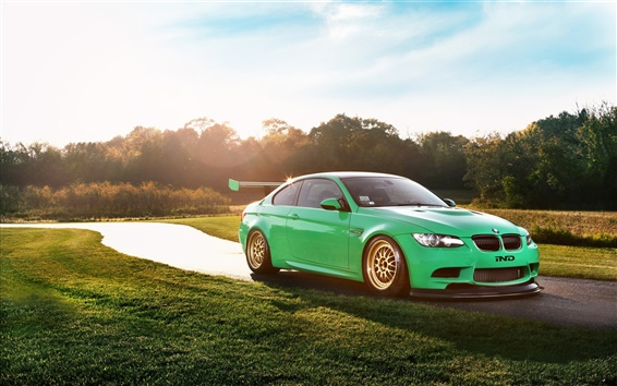 Wallpaper BMW M3 Coupe, Green Hell, S65 E92 supercar