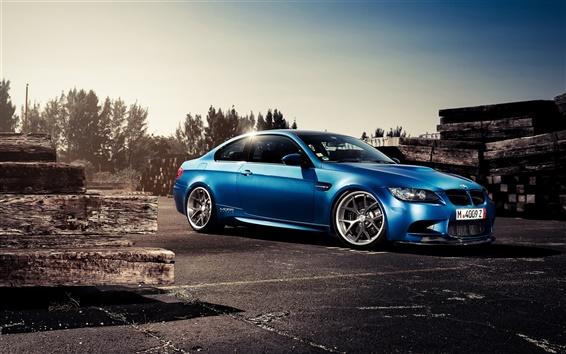Обои BMW M3 вид сбоку синий автомобиль