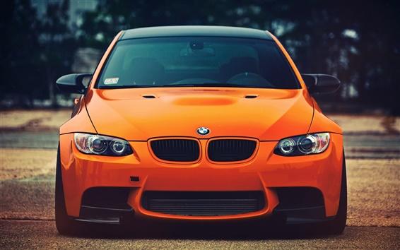 Обои BMW M3 вид оранжевый автомобиль спереди