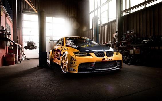Wallpaper BMW M3 supercar, garage, yellow