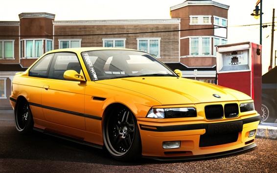 Fond d'écran BMW M3 voiture jaune