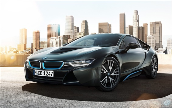 Fond d'écran BMW i8 Concept de voiture dans la ville