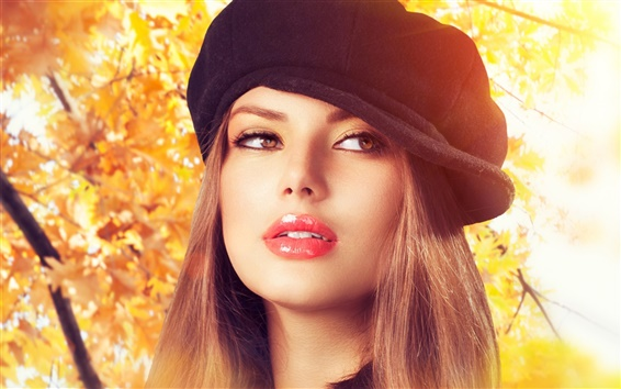 Wallpaper Beautiful girl in the autumn season
