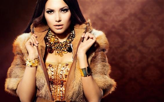 Wallpaper Beautiful model girl, jewelry, warm
