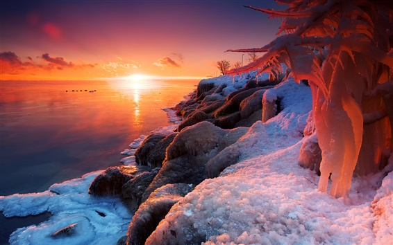 Wallpaper Beautiful winter sunrise, lake, ice, snow