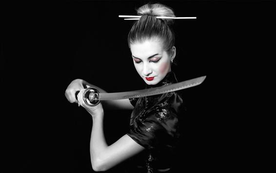 Wallpaper Black dress girl warrior