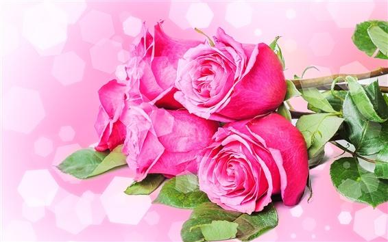 Papéis de Parede Bouquets flores, rosas