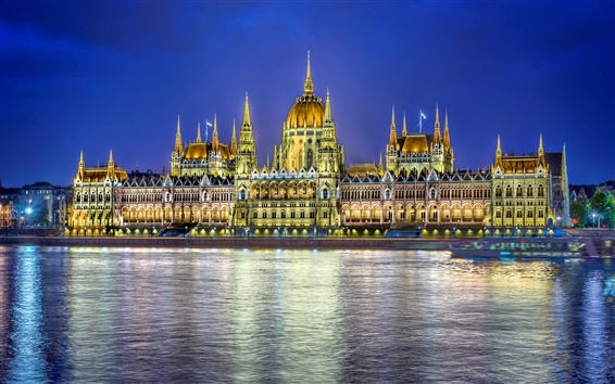 Wallpaper Budapest, Hungary, city night, parliament building, lighting, river