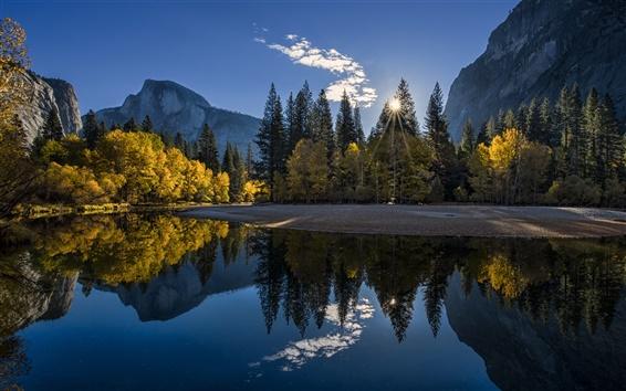 Wallpaper California, Yosemite National Park, mountains, forest, lake, sunrise