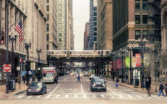 Wallpaper Chicago city street, buildings, people, cars