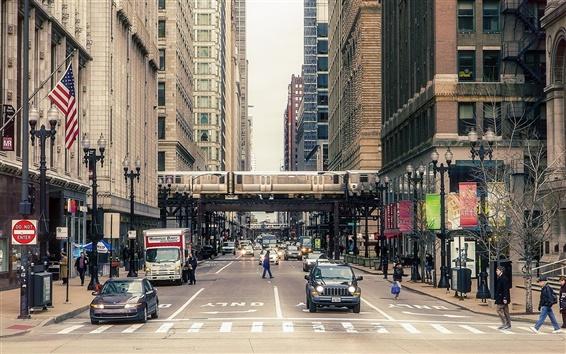 Обои Чикаго городской улицы, здания, люди, автомобили