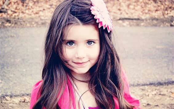 Wallpaper Children, girl, black hair, smile, pink decoration flower