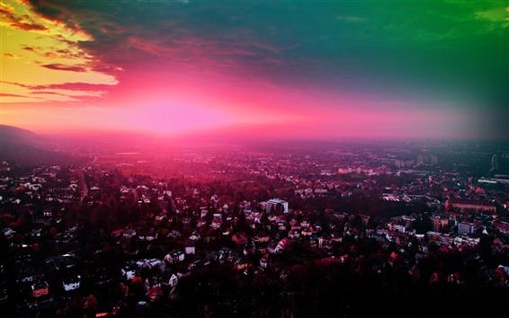 Fondos de pantalla Puesta de sol en la ciudad, el paisaje hermoso, púrpura, casas