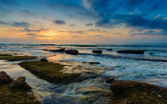 Fond d'écran Côte paysage, nature, mer, l'eau, roches, coucher de soleil